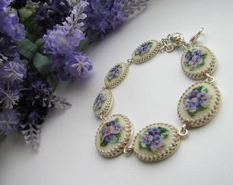 """Embroidered Bracelet """"Silver Bouquet"""". Floral Embroidered Bracelet. Cross stitch Bracelet. Embroidered flowers. Charms bracelet. Petit Point"""