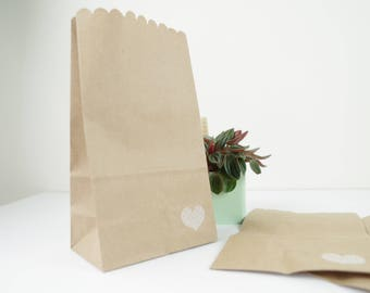 Set of 5 bag pockets with bellows 11x19x6.5 white heart gift cm printed kraft paper jewelry.
