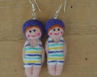"""Earrings woolen """"small retro bathers"""""""