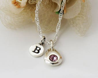 Custom Initial Birthstone Necklace, Sterling Silver Birthstone Necklace, Personalized Jewelry