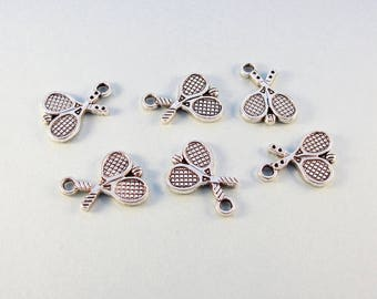 Tennis charms / 6 pcs double sided silver tone tennis charms