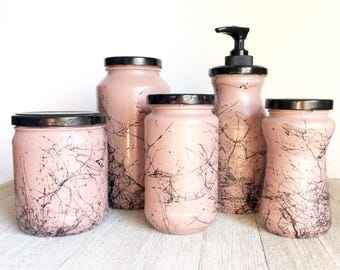 Pink bathroom decor etsy for Pink glass bathroom accessories