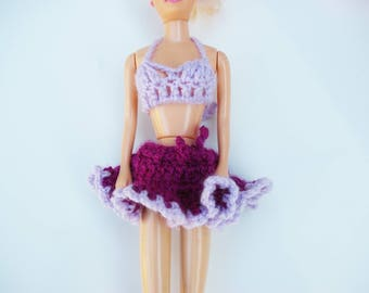 Barbie doll, doll clothes: skirt and top with purple and plum swimsuit Beach
