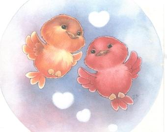 Little baby birds illustration