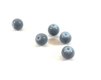 Set of 10 synthetic grey round beads (Ref.101)