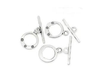Set of 3 silver plated toggles clasp