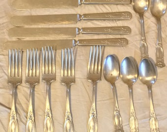 W.M.A Rogers Silver- Nickel Flatware Set- 15 Pieces total