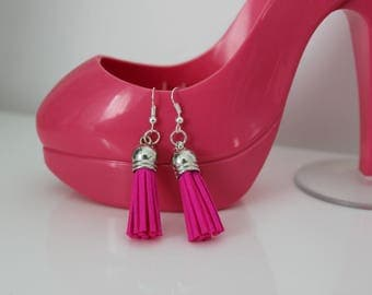 Hot pink suede tassel earrings