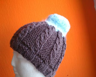 Brown hand knit hat