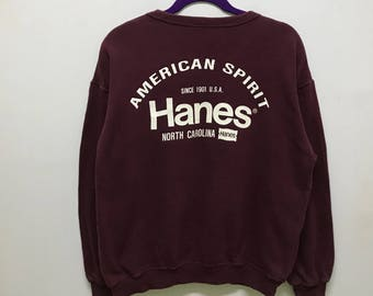Simple!!! Hanes Sweatshirt Spellout Small Logo Jumper