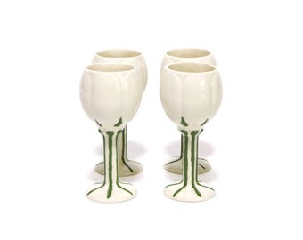 White tulip shaped aperitif glasses