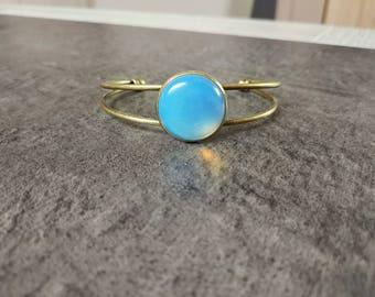 Filigree Cuff Bracelet with adjustable Opal gemstone