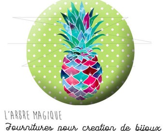 Cabochon 25 mm pineapple fruit fantasy exotic ref 1739