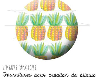2 cabochons glue pineapple fruit exotic ref 1742 - 16 mm.