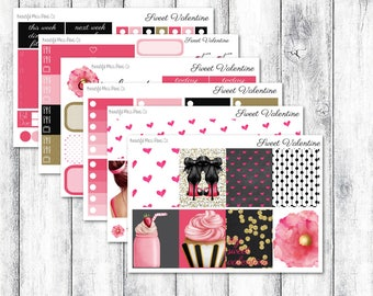 Sweet Valentine // Classic Happy Planner // Weekly Sticker Kit // Valentine Sticker Kit