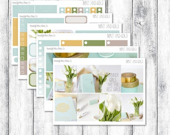 Mint and Gold // Erin Condren Vertical // Photo Sticker Kit // Weekly Sticker Kit // Spring Sticker Kit