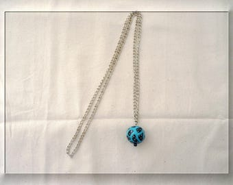 """Necklace """"bola"""" silver chain and polymer clay bead"""