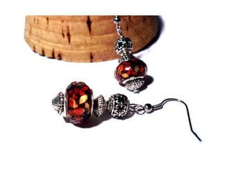 Retro earrings, red speckled beads