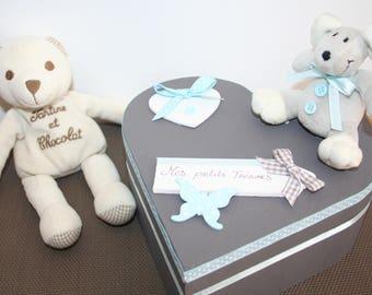 box keepsake birth taupe and sky blue