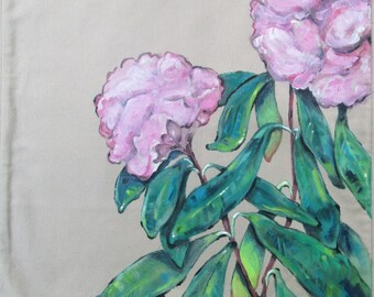 cover pillow/cushion cover / 40 / 40 cm/15.7 inches / hand painted peonies