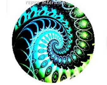 25mm, blue and green swirl