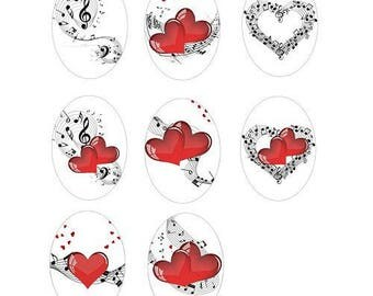 18x25mm, set of 8 fiddle cabochons and heart