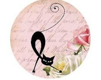 Black Cat, pink, 20mm