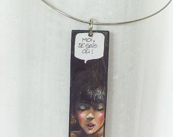 Rectangular pendant of cardboard, comic strip