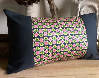 Scandinavian Cushion cover with flowers blue pink