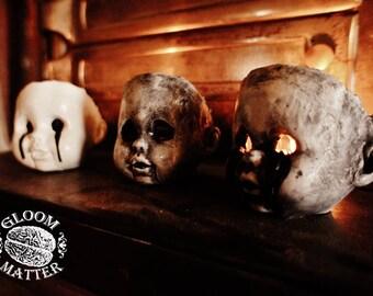 Horror Fan Gothic Doll Head Candle Holder