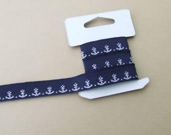 Stripe Navy Blue White Navy anchors