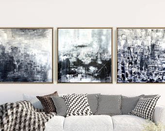 Set of 3 Prints, Abstract Art Prints, Triptych, Black And White Wall Art, Minimalist Art, Giclee Print, Home Decor, Wall Decor, Wall Prints