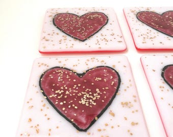 Pink and gold heart fused glass coasters