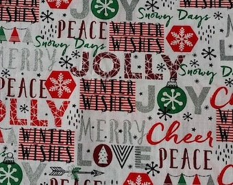 Christmas fabric jolly fabric santa fabric holiday cheer cotton by the yard fabric by the yard christmas cotton fabric christmas prints