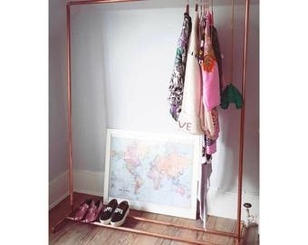 Copper Clothes Rail Made From Industrial Plumbing Pipe