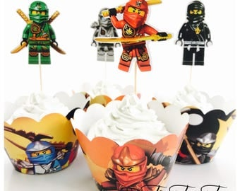 12x Lego Ninjago Party Food Cupcake Cake Topper & Wrappers. Party Supplies Bunting Lolly Loot Bags Favour Box Ninja