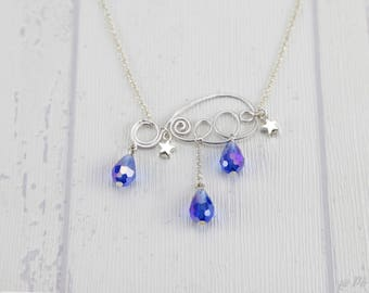 Short necklace, cloud blue and silver #1179