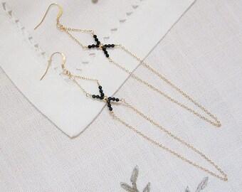 Long Delicate Earrings, Long Chain Earrings, Black Crystal Earrings, Beadwork Earrings, Gold Earrings, Unique Handcrafted,Minimalist Jewelry