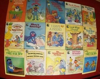 Vintage seasame street books. 1980s Children's books.