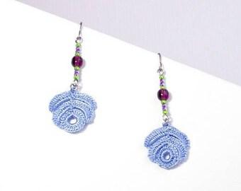 Blue lace crochet Rosa sky earrings