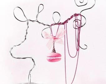 Pink macaroon paris necklace