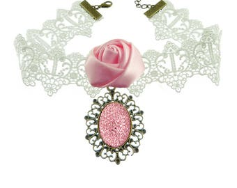 Woman Choker necklace the wedding white lace flower in pink satin and rhinestone support bronze