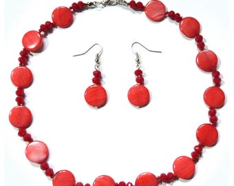 Dress woman necklace and earrings classic Pearl red opaque glass beads faceted