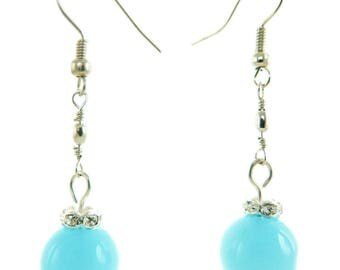 Blue sky and white crystal ball earrings
