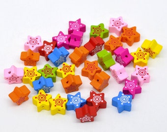 SET of 10 wooden multicolor 13mm star beads