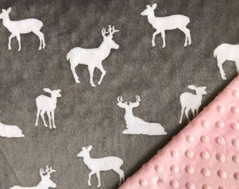 Minky Baby Blanket Personalized Woodland Deer Blankets Shower Gift