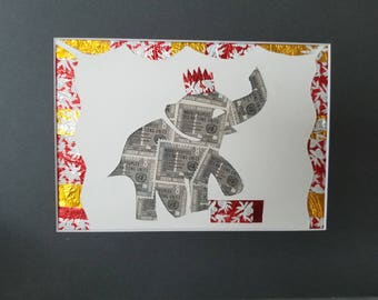 Postage Stamp Collage - Circus Elephant