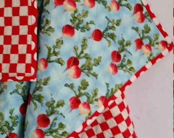 RADISHES, Baby Quilt, handmade, toddler quilt, PERSONALIZE, red Radishes, 100% cotton, blue quilt, red white checks, reversible