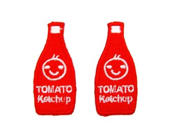 2 PCS Tomato Iron On Patch Ketchup Embroidered Applique Jeans Patches For Jackets