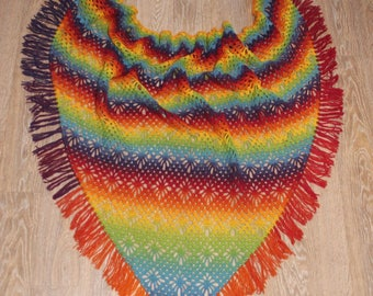 Crochet Scarf Rainbow Wrap Lace Shawl Fringe Scarf Multicolor Shawl Hand Knit Wool Shawl Triangle Scarf Crochet Rainbow Fringe Shawl Wrap